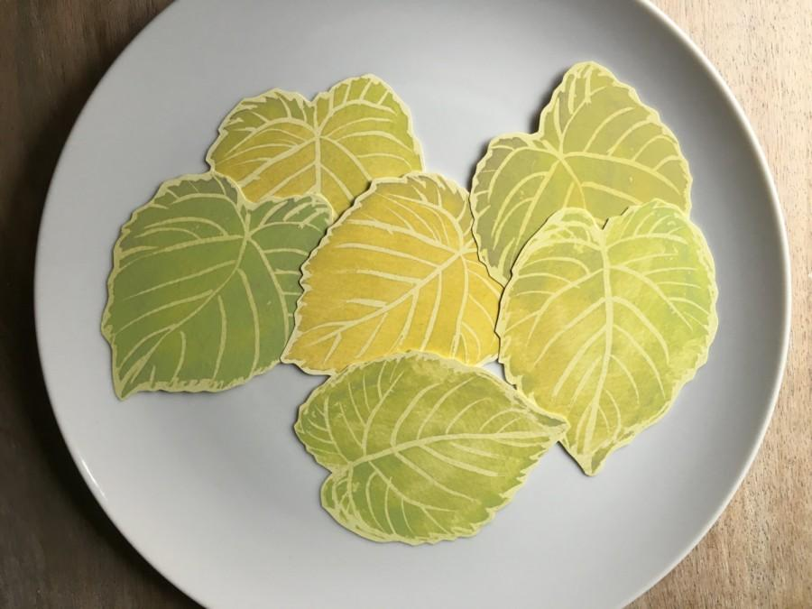Green Cottonwood Leaves Decorations Place Cards Escort Cards