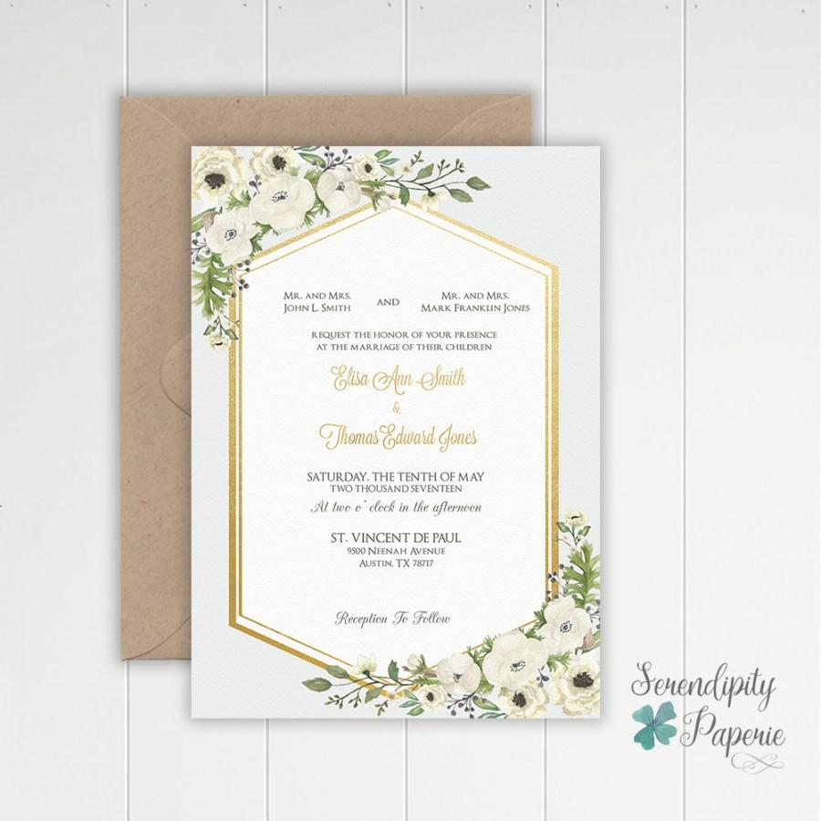 Hochzeit - Watercolor Greenery Wedding Invitation - Ivory and greenery wedding invitation set - Printable Greenery Wedding Invitation Set