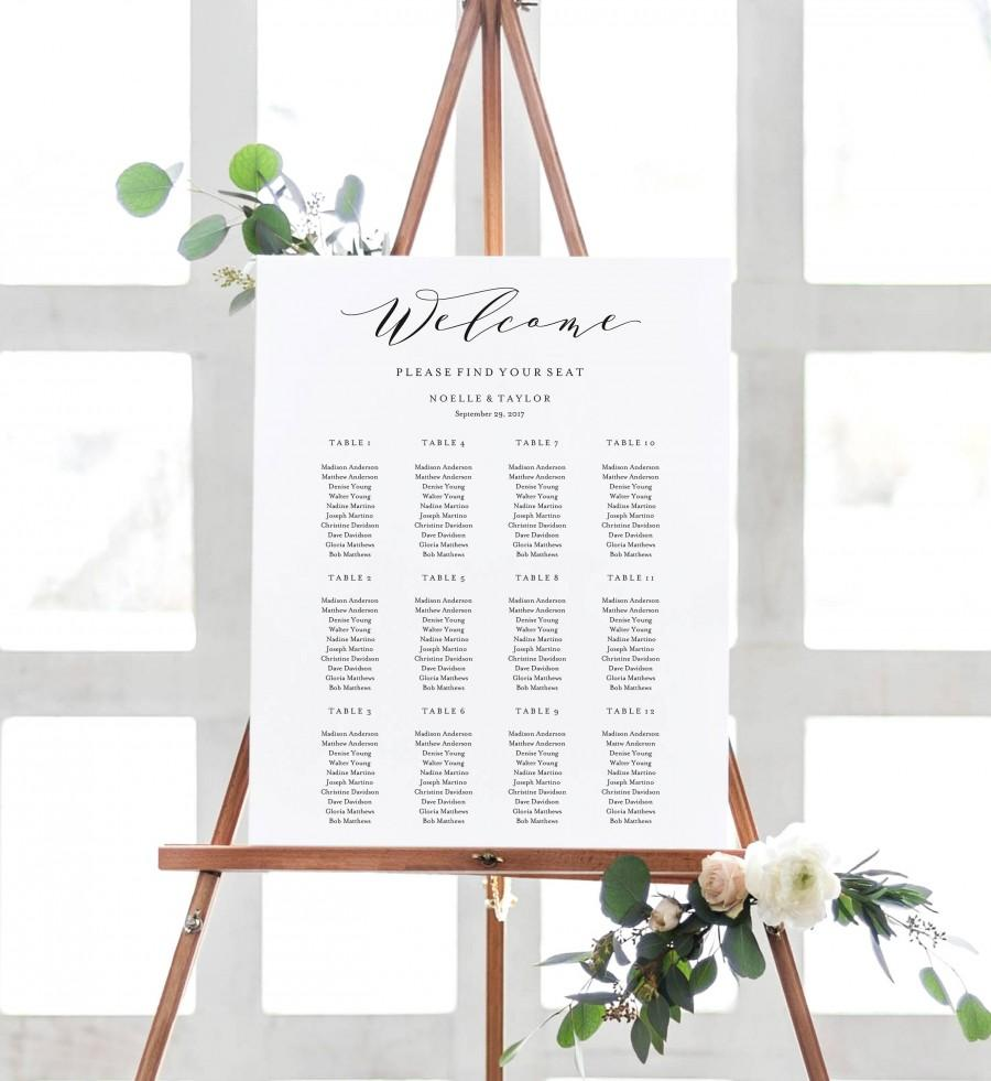 Mariage - Editable Template - Instant Download Soft Calligraphy Guest Seating Chart
