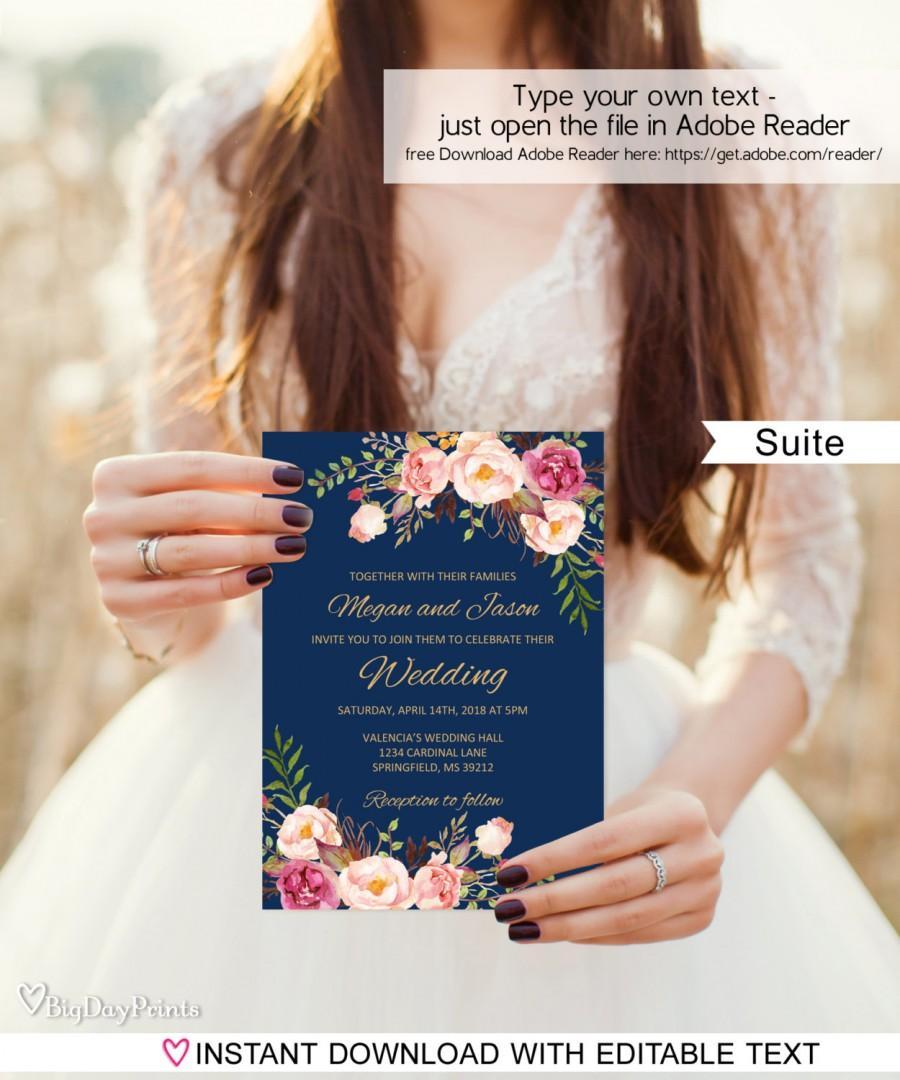 Mariage - Navy Wedding Invitation Template, Boho Chic Wedding Invitation Suite, Floral Wedding Set, #A011B, Editable PDF - you personalize at home.