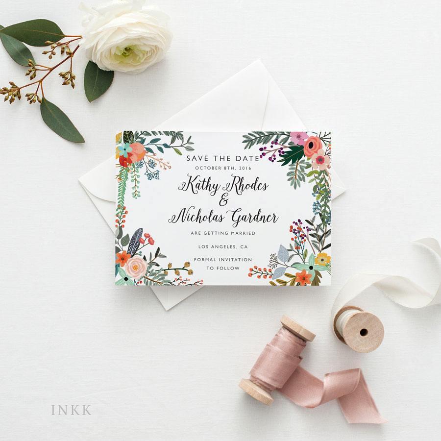 زفاف - Printable Save The Date Printable - Romantic Botanical Wedding - Ready to Print PDF - Wedding Invites - Letter or A4 Size (Item code: P767)