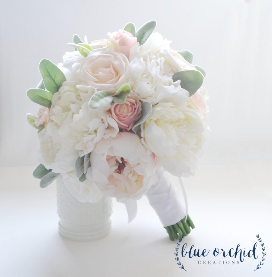 Mariage - Peony Bouquet, Bridal Bouquet, Bride Bouquet, Wedding Bouquet, Silk Peony Bouquet, Blush Pink Bouquet, Beach Bouquet, White Peony Bouquet