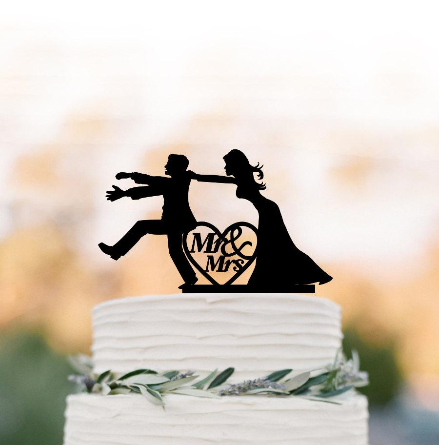 Mariage - Mr and mrs Wedding Cake topper funny,   Bride and groom silhouette , cake decor,