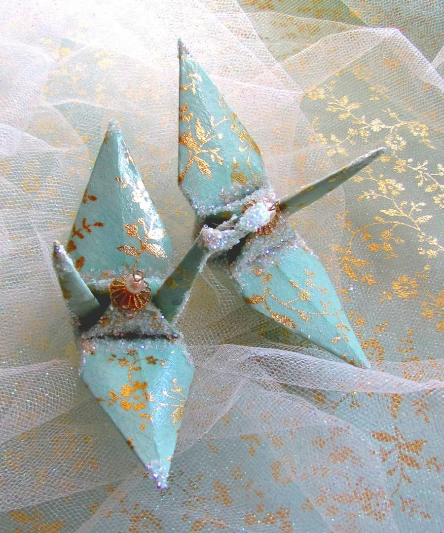 mint green peace crane bird wedding cake topper party