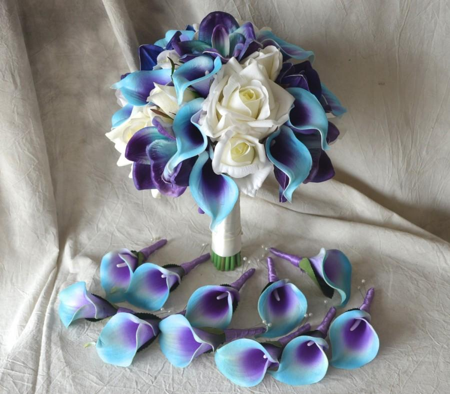Bridal Bouquet Real Touch Flowers Blue Purple Calla Lily Ivory Roses