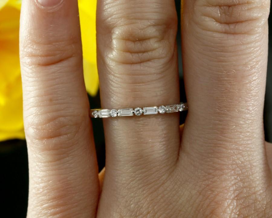 زفاف - Halfway Diamond Wedding Band, Baguette Diamond Wedding Ring in 14k White Gold (available in rose gold, yellow gold and platinum)