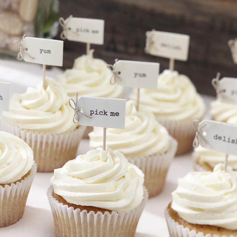 Ivory Cupcake Sticks, Food Flags, Cupcake Decorations, Food ...