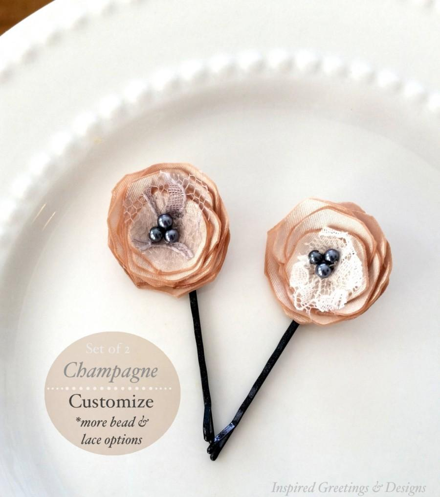 "Mariage - 2 Champagne Wedding Satin Flower Hair Pins, Lace Nude Bridesmaid Hairpin, 1"" Bridal Tiny Silk Hair Flowers, Slate Blue Grey Pearls, Vintage"