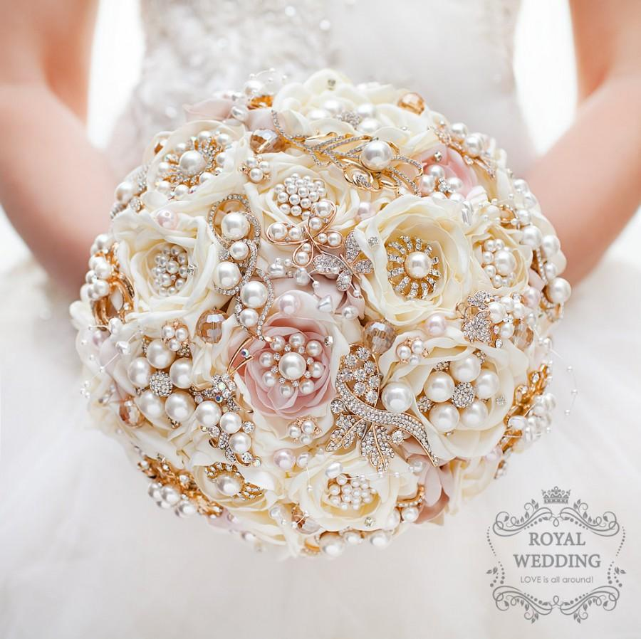 Bridal Bouquet Brooch Gold Wedding Ivory Pink Rose Fabric Jewelry Chic
