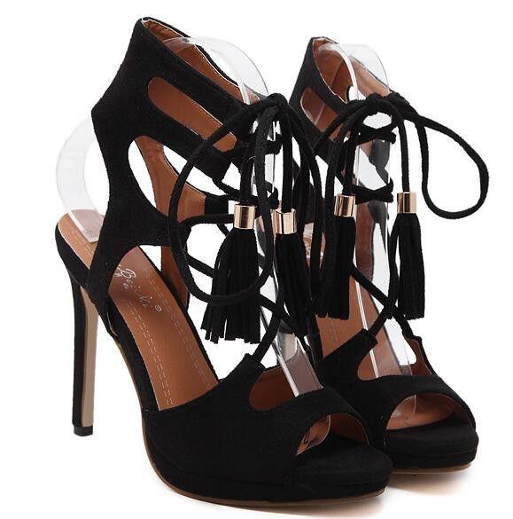 e7ffdb780fa Lace Up Black Sandals Woman Shoes Summer 2017 Platform Sandals Wedding Shoes  High Heel Sandals Women Heels Fringe Sandals