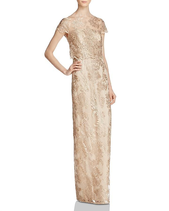 Mariage - Adrianna Papell Bodice-Overlay Lace Gown