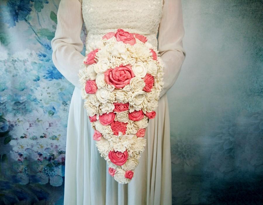 Mariage - Big CASCADE / teardrop ivory and coral rustic wedding Bridal bouquet sola Flowers Burlap lace roses vintage wedding custom original