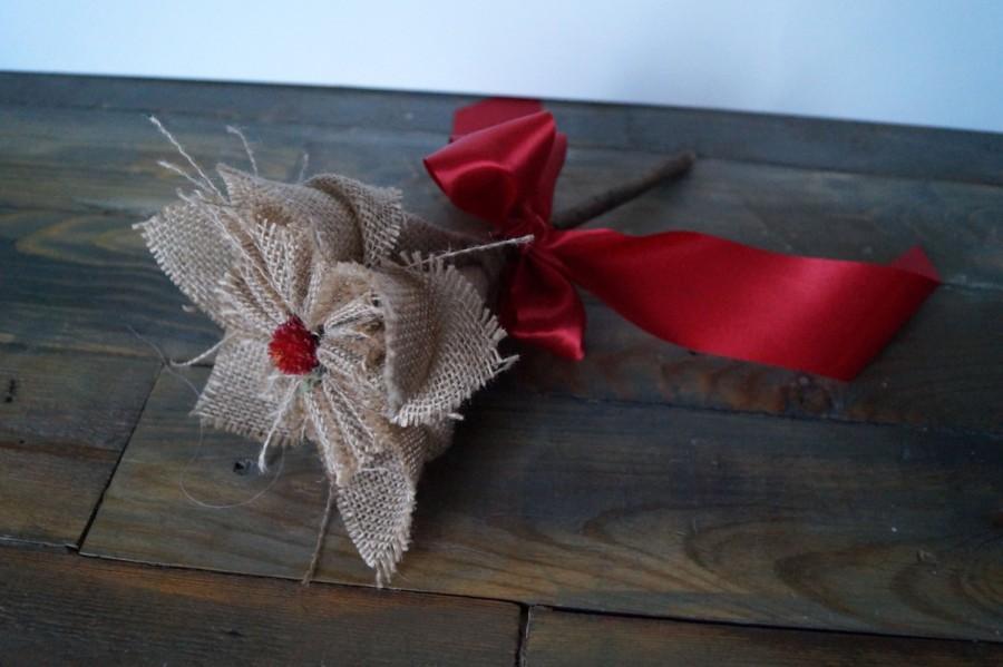 Origami flower kusudama flower wedding bouquet dried flowers red bow origami flower kusudama flower wedding bouquet dried flowers red bow red flower natural linen fabric flower linen flower girl wand mightylinksfo