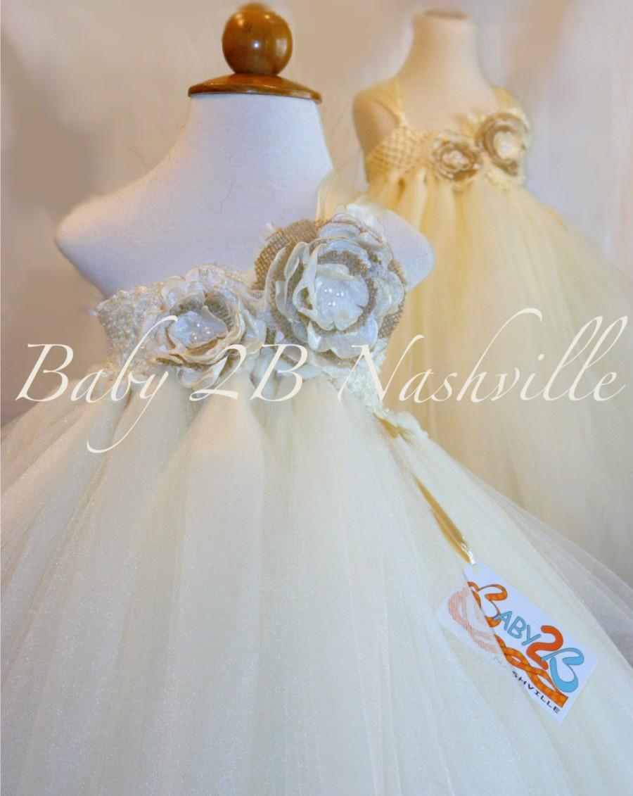 Mariage - Rustic Dress Ivory Dress Burlap Dress Flower Girl Dress Wedding Dress Baby Dress Tutu Dress Tulle Dress Toddler Dress Birthday Party Dress