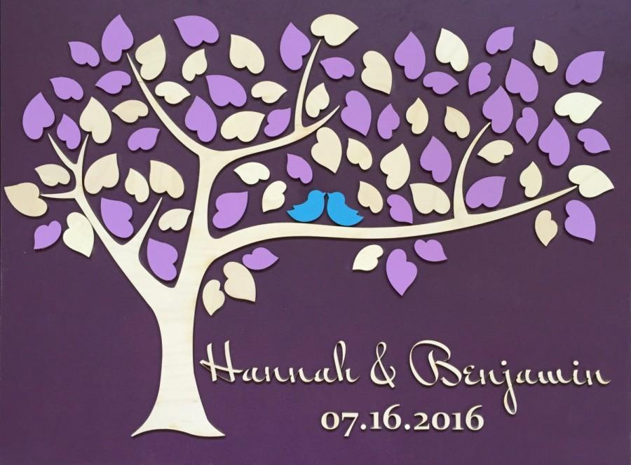 Свадьба - Wedding Guest Book Alternative Unique Guestbook Wedding Sign Wooden Tree Guest Book 3D Heart Tree with Purple Plum Eggplant Violet Wedding