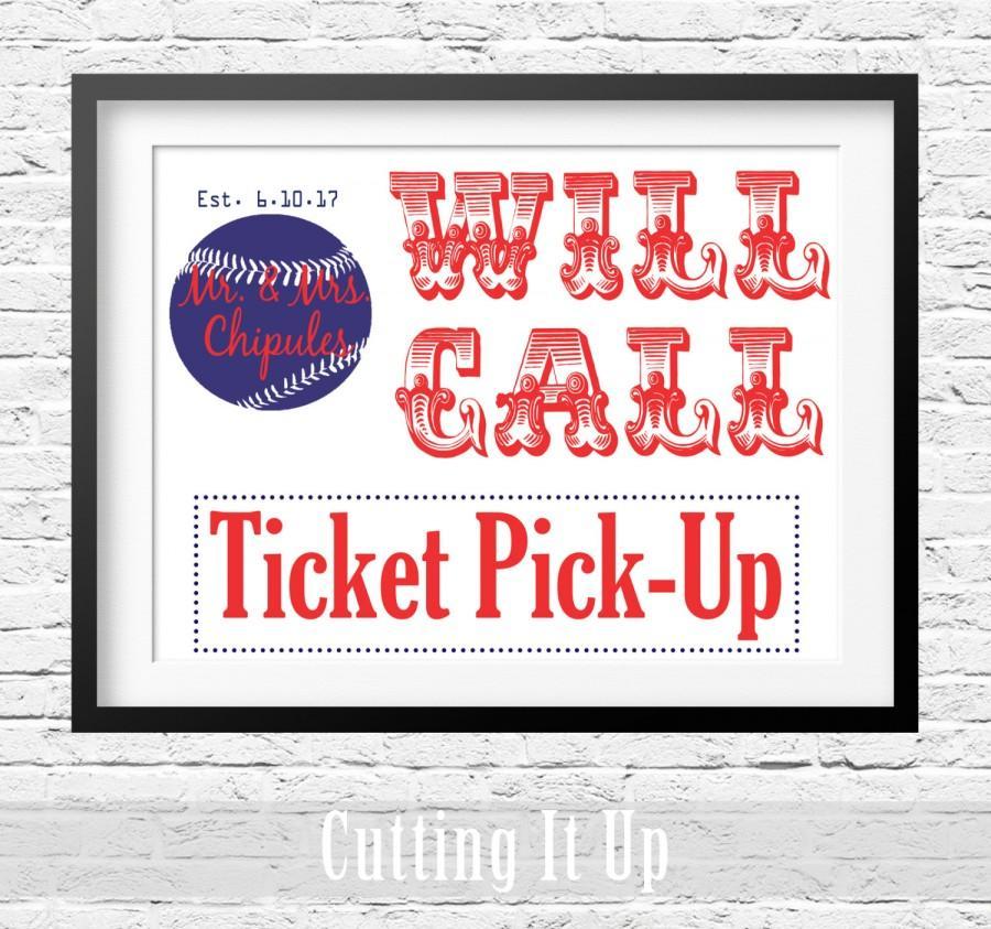Mariage - Baseball Will Call Sign, Escort Ticket Sign, Baseball Wedding Sign, Ticket Pick Up, Escort Card, Baseball Theme, Boston Red Sox, Will Call