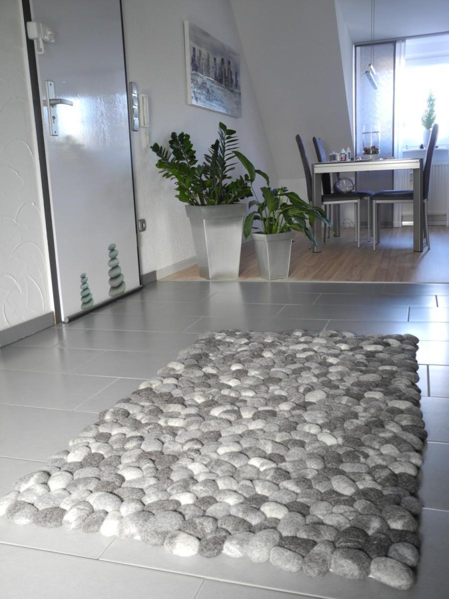 Wedding - Felt stone rug supersoft pebbles gray