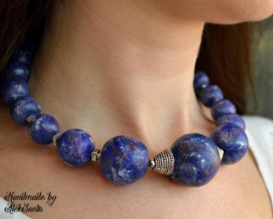 ba0bbf67d9c1a Blue Necklace Beaded Necklace Blue Choker Large Necklace Polymer ...