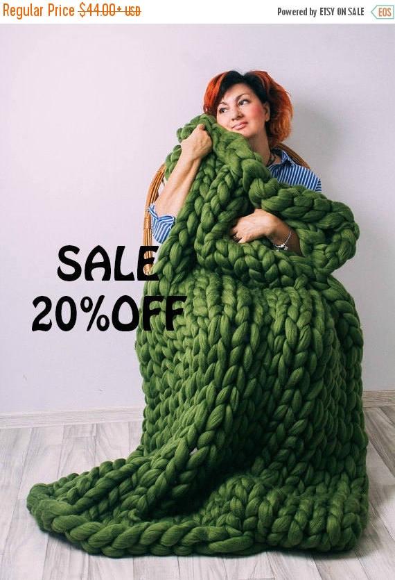Sale Sale Chunky Knit Blanket Australian Merino Wool Throw