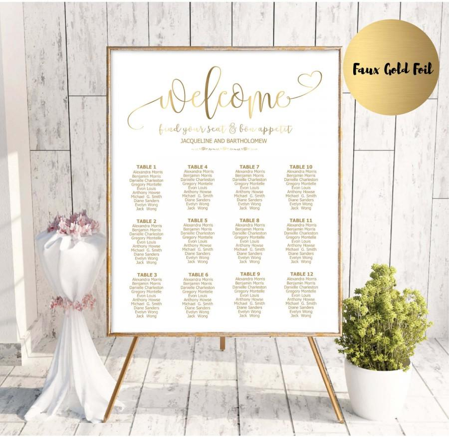 gold wedding seating chart template printable seating chart