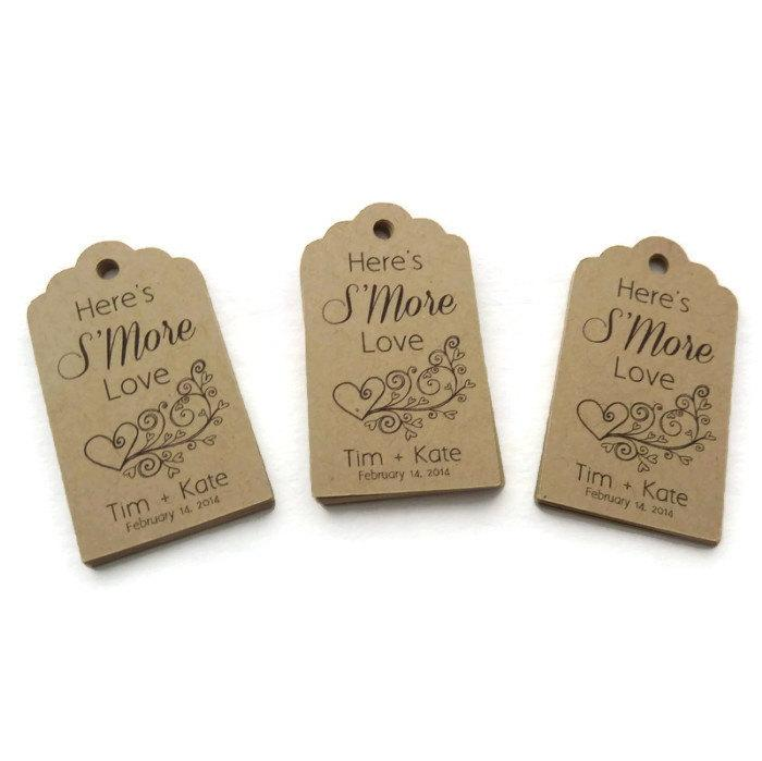 Hochzeit - Custom Wedding Favor Tag - Thank You Tag - Personalized Tag - 50 Count - 2.25 x 1.25 in - S'mores Favor Tag - Custom Wedding Tags - Scallop