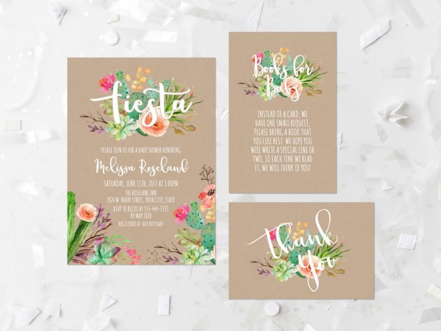 زفاف - Fiesta Baby Shower Invitation Printable Succulent Baby Shower Invite Cactus Fiesta Shower Invite Kraft Watercolor Succulent Floral 240
