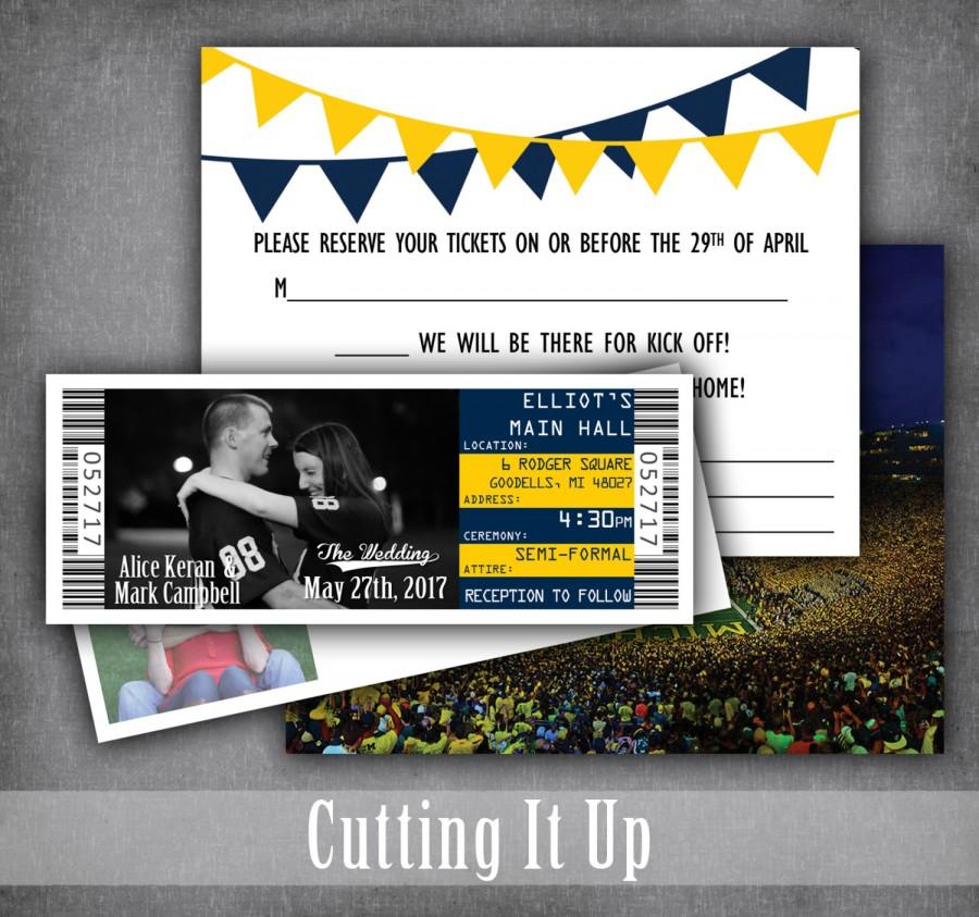 Wedding - Football Wedding Invitations, Football Ticket Invitation, Sport Wedding Ticket, RSVP, Michigan Wolverines, West Virginia Mountaineer, Custom