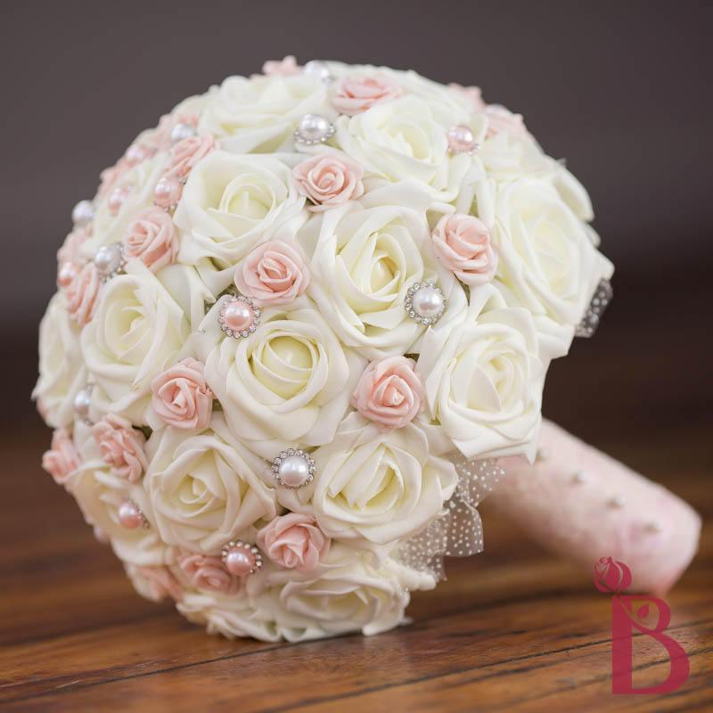 Mariage - Blush pink wedding bouquet, ivory and pink bridal bouquet, vintage bouquet, chic bridal bouquet, ivory roses with blush pink pearls and lace