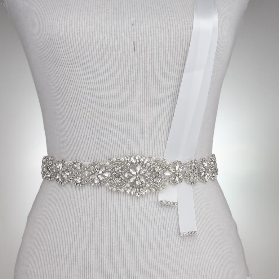 """Hochzeit - 37"""" L Crystal Wedding Belt Bridal Sash Rhinestone Crystal Sash Wedding Dress Sash Belt Crystal Rhinestone Trim DIY Wedding Sash 1119"""