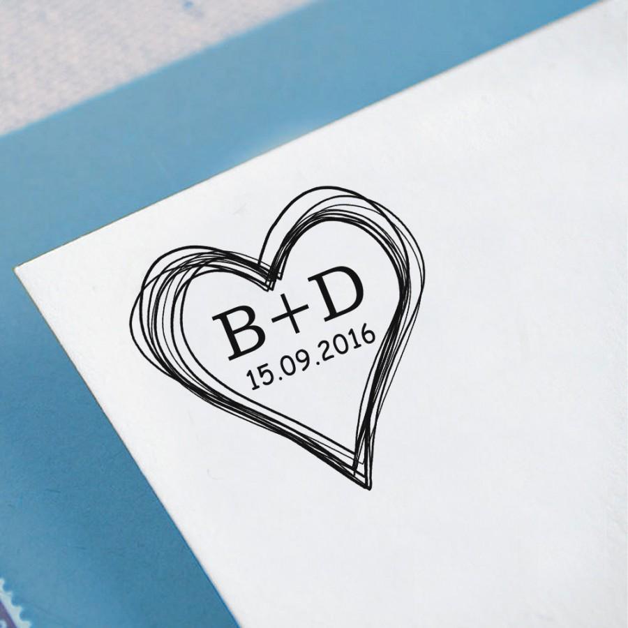 زفاف - Custom Monogram Stamp Self Inking Save The Date Stamp Personalized Heart Stamper Wedding Invitation Stamp Heart Scribble Proposal Gift HS57P