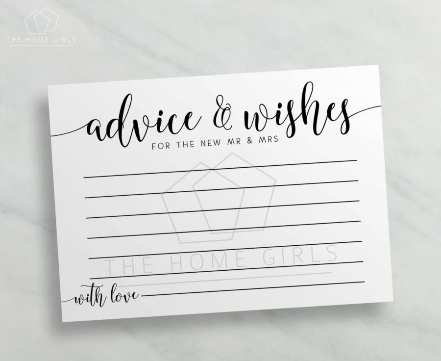 Advice And Wishes Cards Mr Mrs Calligraphy Printable For Bride Groom Newlyweds Wedding Card Instant