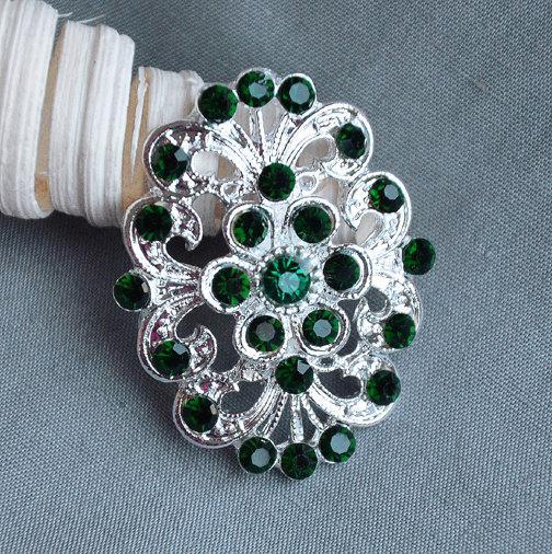 Свадьба - 5 Large Rhinestone Button Embellishment Dark Emerald Green Crystal Wedding Brooch Bouquet Invitation Cake Decoration BT483