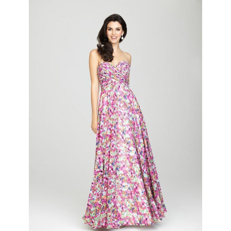 Wedding - Allure 1440 Long Floral Print Chiffon Bridesmaid Dress - Crazy Sale Bridal Dresses