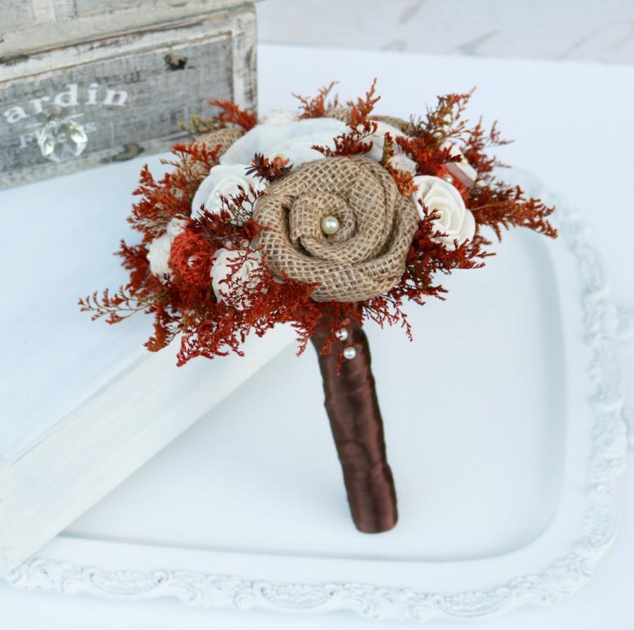 Wedding - Autumn Orange Bridesmaid Bouquet // Burnt Orange, Orange, Brown, Fall, Burlap, Wildflower, Sola, Woodland Wedding Bouquet, Bridal Bouquet