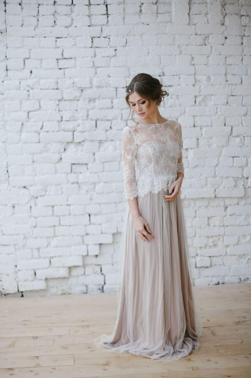 Свадьба - Wedding dress Boho wedding dress Romantic Wedding Dress Long Sleeve Wedding Dress vintage wedding dress elegant wedding gown