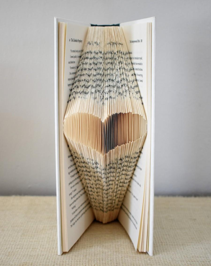 زفاف - Folded Book Art, Boho Wedding Decor, Decorative Book, Rustic Wedding