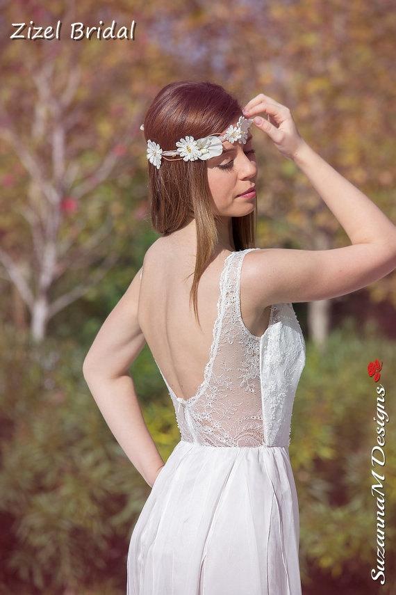 Wedding - Flower  Bridal Crown, Bridal Hair Piece, Wedding Ivory Crown, Wedding Headband, Wedding Hair Crown, Lace Wedding Tiaras, Bridal Αccessories