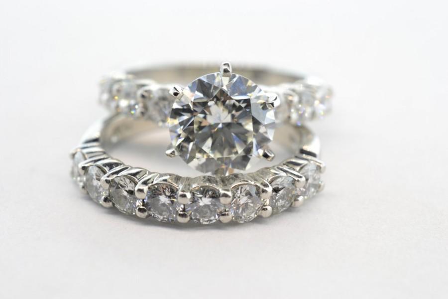 زفاف - Round 2ct GIA CERTIFIED Diamond Platinum Engagement Ring and Matching Band - Size 4.5 - Appraisal
