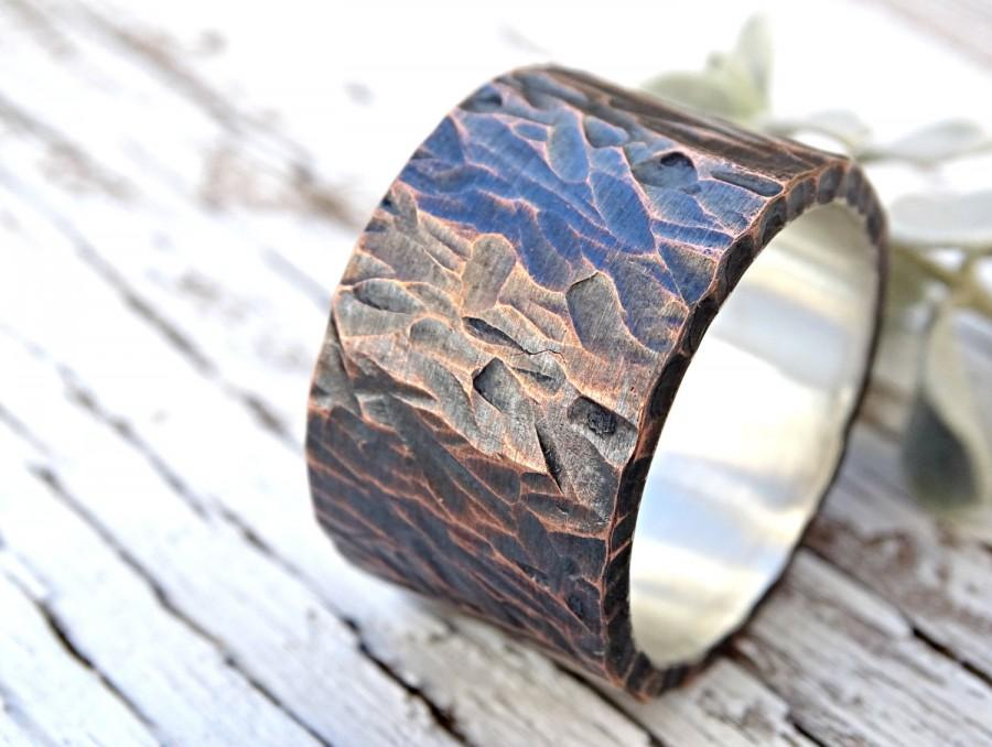 Mariage - bold mens wedding band, wide mens ring copper silver, ring industrial wedding rustic, cool mens ring, personalized mens ring mixed metal