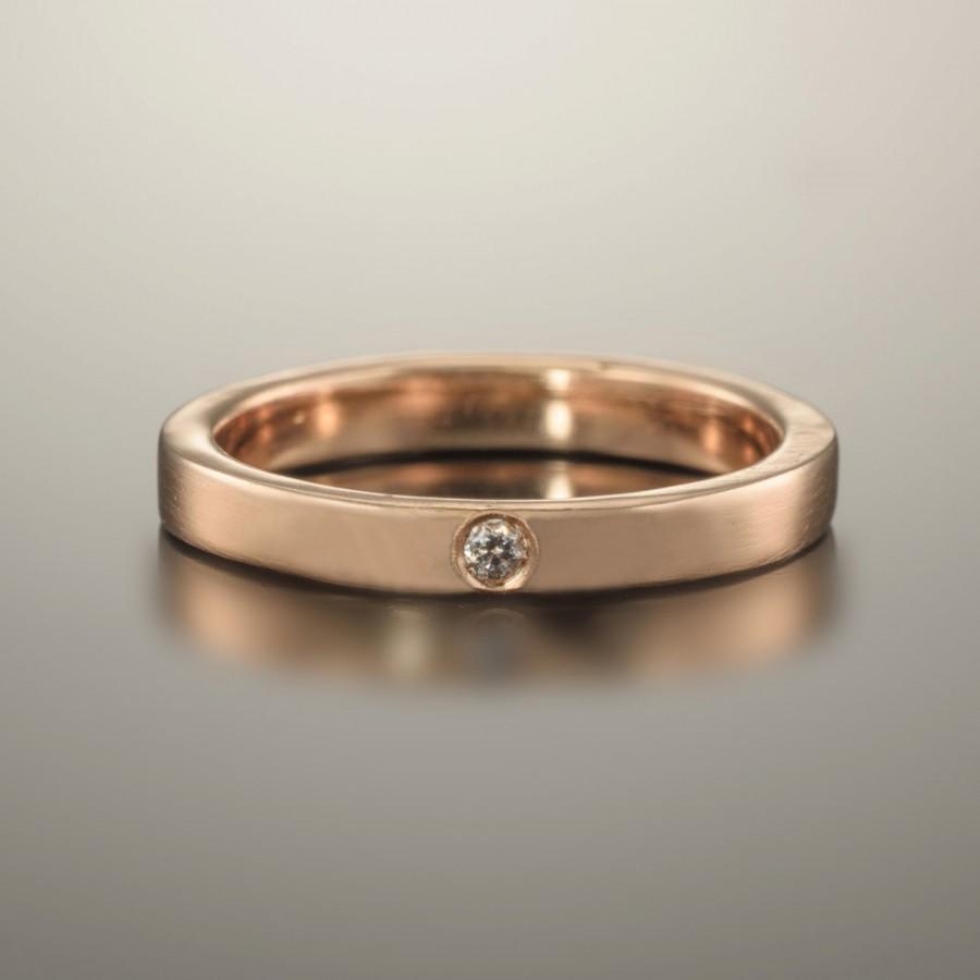 Hochzeit - Gold ring 14k, Gold ring band, 14k Rose gold ring, Wedding band rose gold, Rose gold diamond ring, Wedding band women, Rose gold jewelry 18k