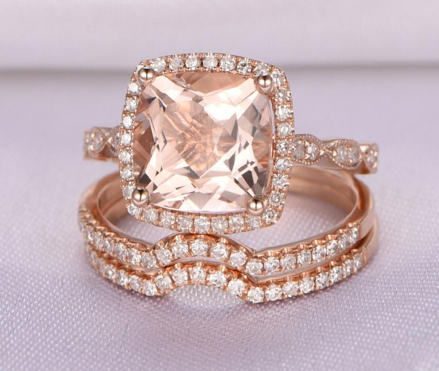 Morganite Wedding Ring Set,Rose Gold Morganite Engagement Ring,8x8mm  Cushion Cut Pink Stone,Diamond Curved Wedding Band,Bridal Set,14K