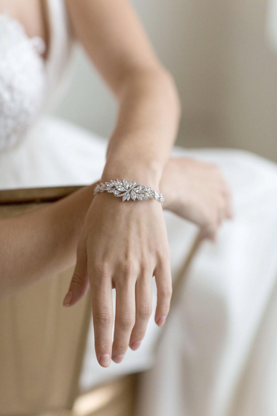 Hochzeit - Wedding Bracelet,  Cubic Zirconia Bracelet, Bridal Bracelet