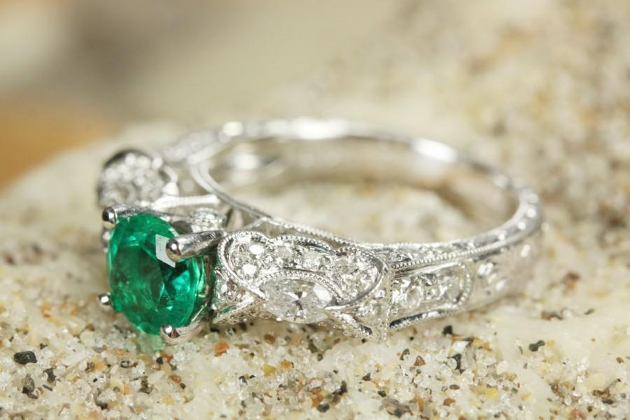 Mariage - 2.70 tcw Top Quality Colombian Emerald & Diamond Edwardian Engagement Ring 14k, Emerald Engagement Ring, Emerald Ring, Engagement Ring