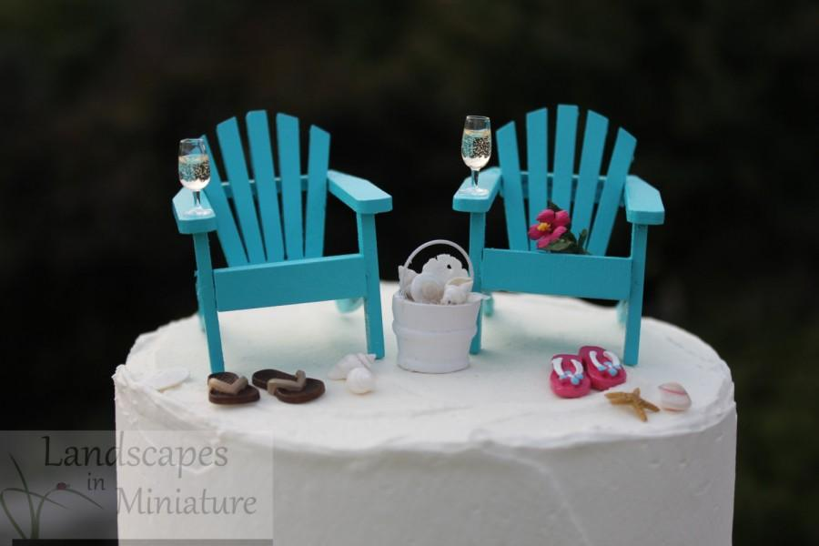 Mariage - Beach Theme Wedding Cake Topper - BASIC SET with DRINKS - Classic Adirondack Chairs & Flip Flops - by Landscapes In Miniature
