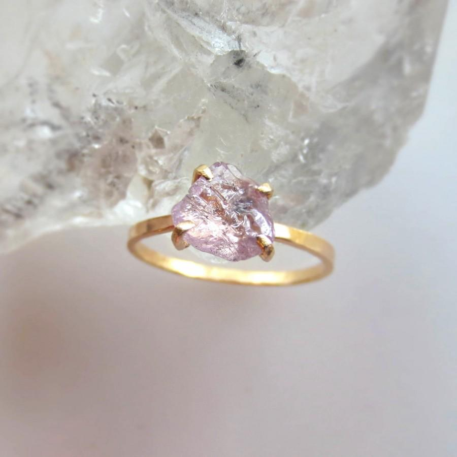 Natural Yellow Orange Sapphire Ring Raw Sapphire Ring Alternative