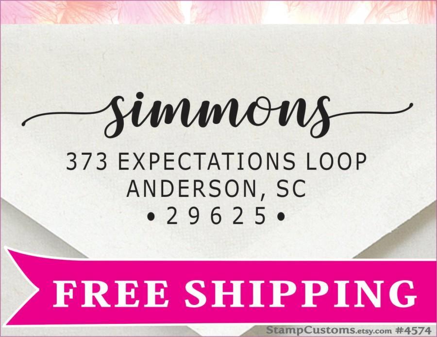 زفاف - Address Stamp  - Family Self inking Return Address Stamp - Wedding Calligraphy Address Stamp - 4574