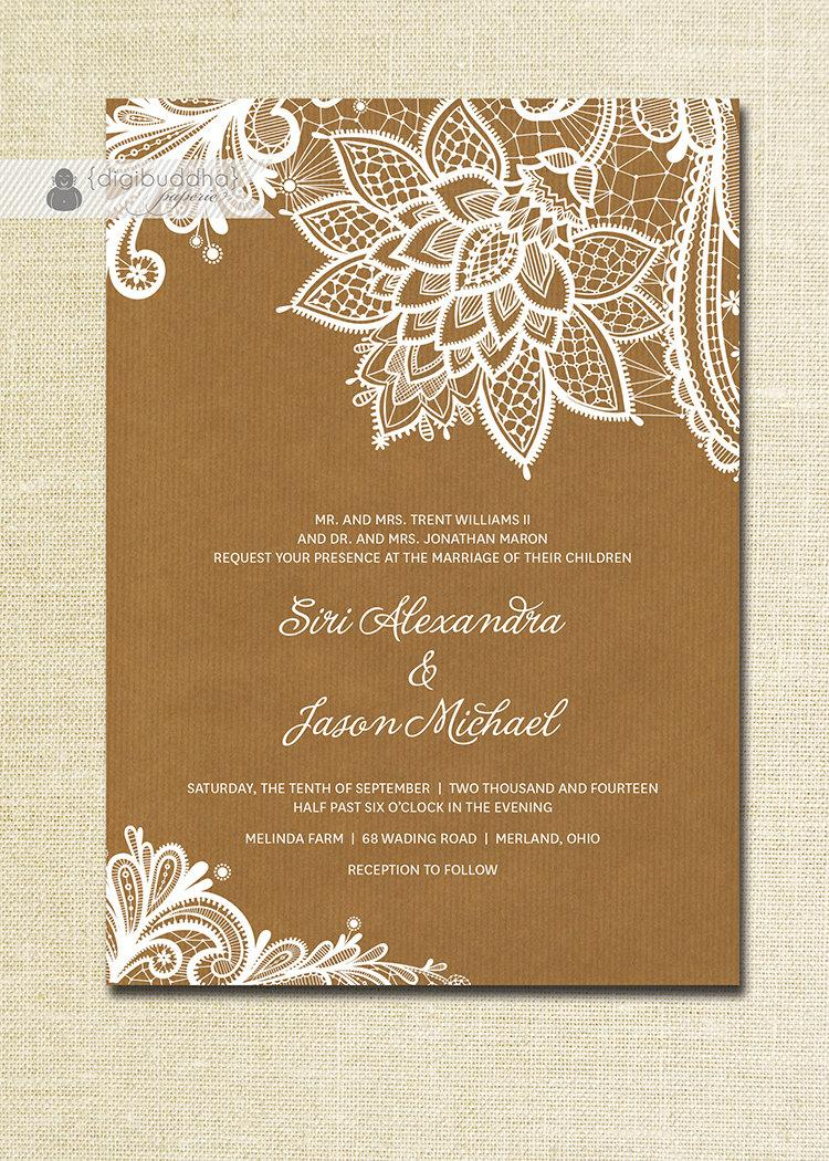 Wedding - Lace Wedding Invitation Kraft Shabby Chic Rustic Wedding White Ivory Cream Brown Doily Craft FREE PRIORITY SHIPPING or DiY Printable- Siri