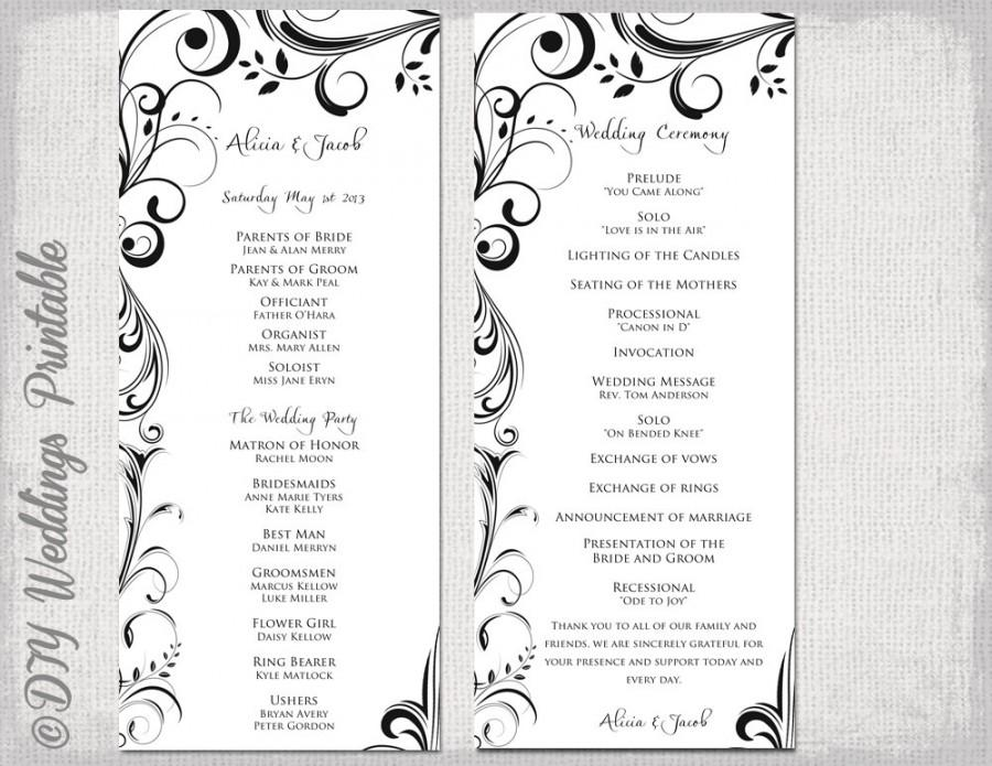 "Wedding - Black & white Wedding program template -instant download ""Scroll"" wedding order of ceremony -DIY printable order of service -YOU EDIT"
