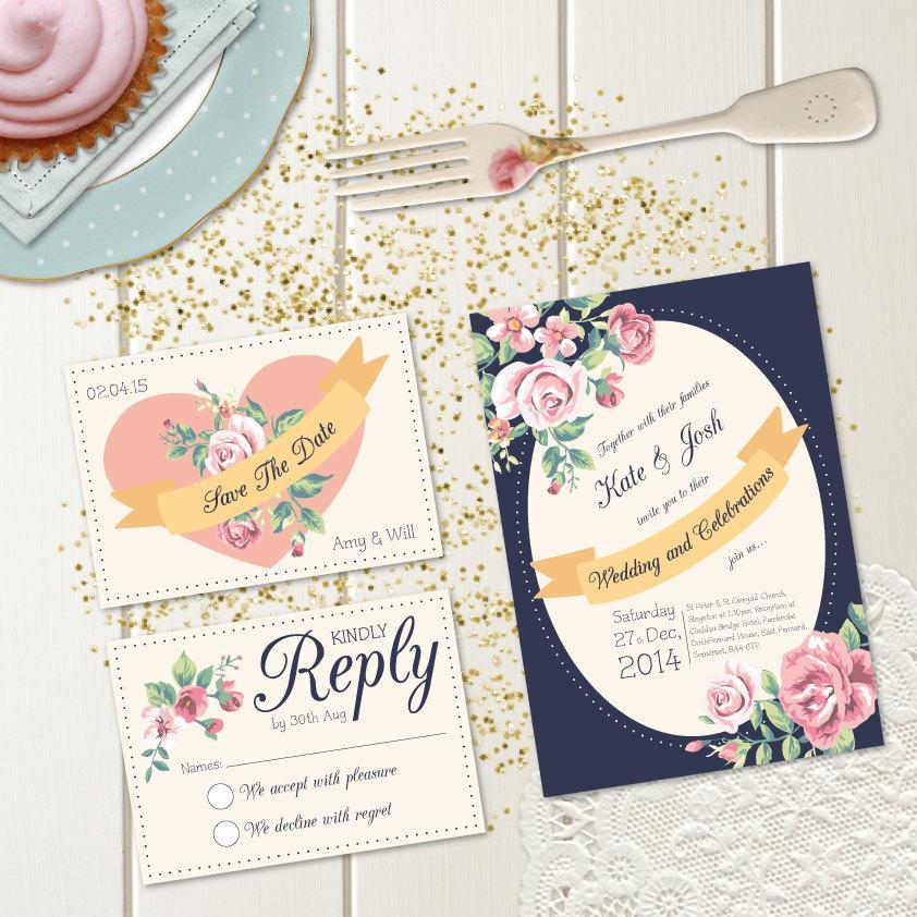 زفاف - DIY Printable Wedding Invitation - Fleur Wedding Stationery Set - Invite, RSVP & Save The Date - Downloadable