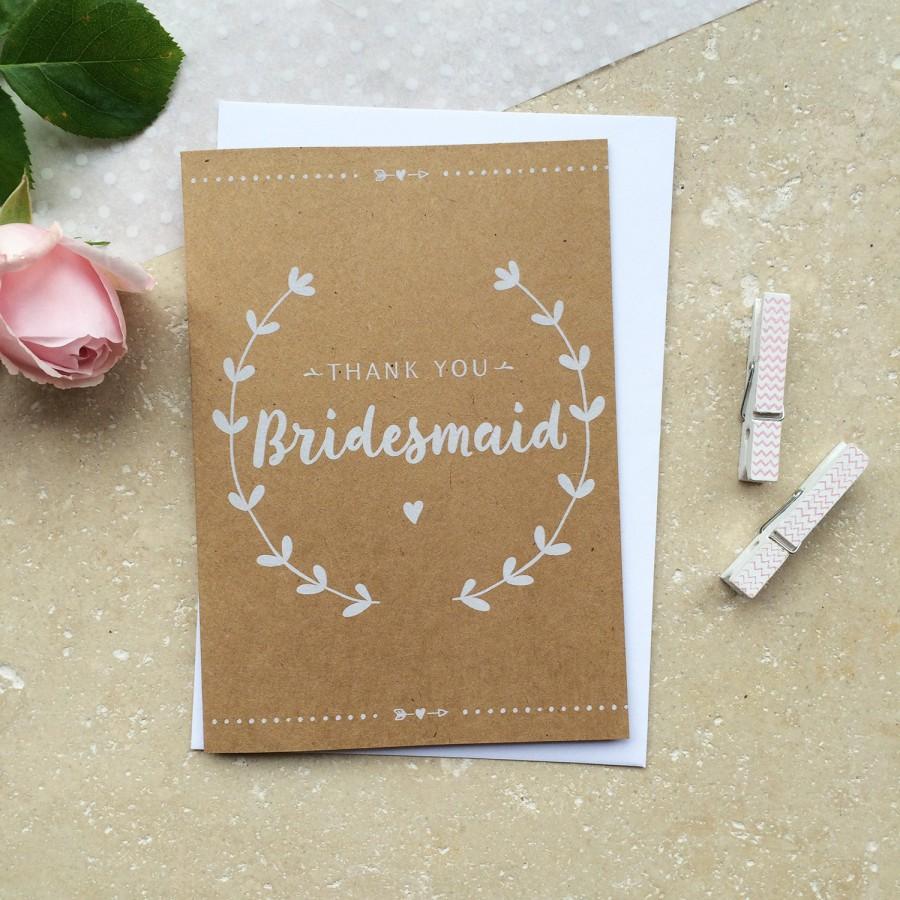 زفاف - Rustic Bridesmaid Thank You Card